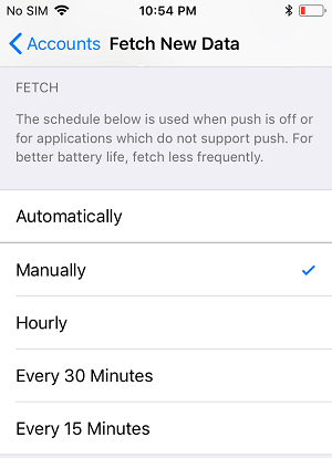 Fetch Data Manually Option on iPhone