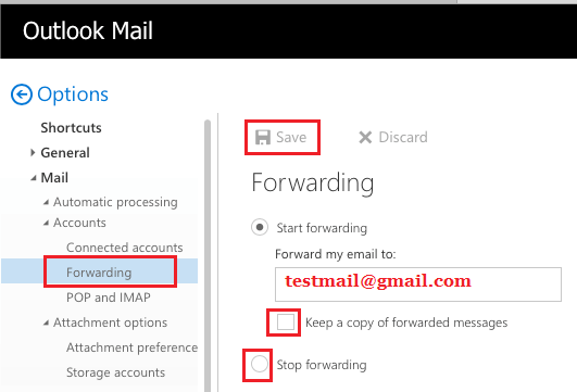 Simple Mail Forwarding Setup in Outlook Mail