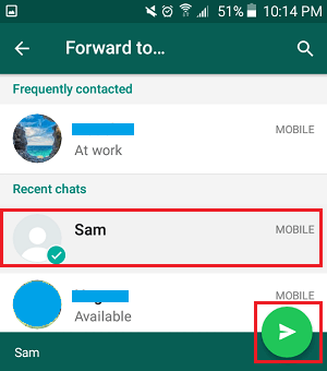 Select Contacts to Forward Photos in WhatsApp Android