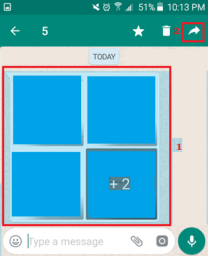 Forward Photos Option in WhatsApp on Android Phone