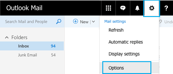 Outlook Mail Settings Icon and Options Tab