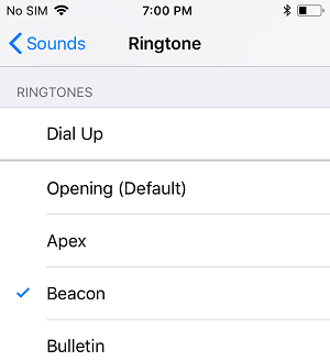 Select Ringtone on iPhone