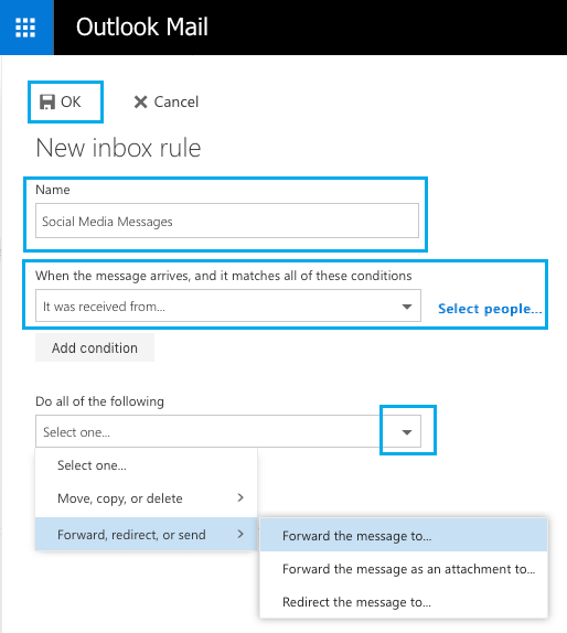 Inbox Rule Settings Screen in Outlook Mail