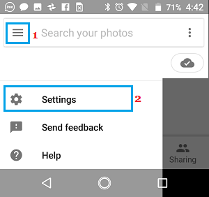 Open Settings in Google Photos