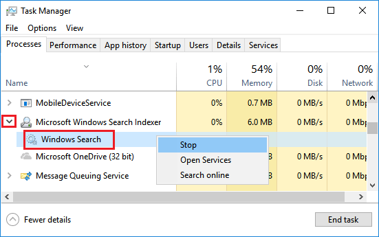 Stop Windows Search Service in Task Manager