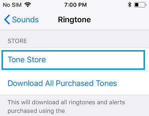 Tone Store Option on Ringtone Settings Screen on iPhone