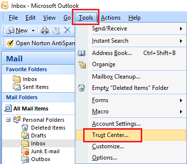 Open Trust Center in Microsoft Outlook