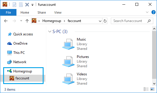 Access Shared Files in HomeGroup