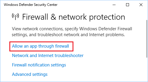 Allow an app through Firewall link in Windows Defender
