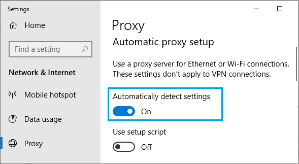 Automatically Detect Proxy settings