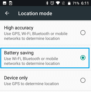 Battery Saving Location Mode on Android Phone