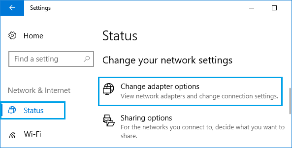 Change Adapter Options in Windows 10
