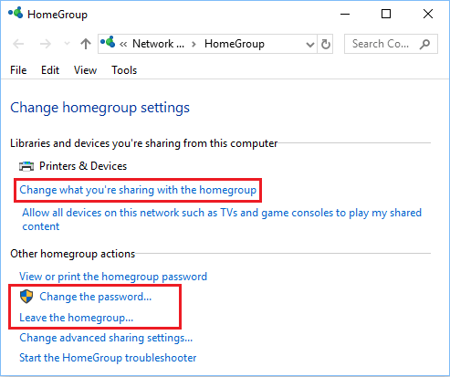 Change HomeGroup Settings Screen