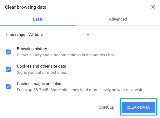 Clear Cookies, Cached Images, Browsing History in Chrome