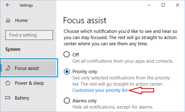 Customize Focus Assist Priority List Option in Windows 10