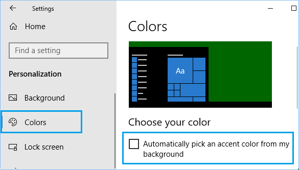 Disable Automatic Background Color Changing Option in Windows 10