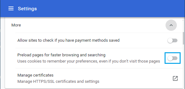 Disable Preloading of Webpages in Chrome