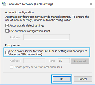 Disable Proxy Server Connections in Windows Computer