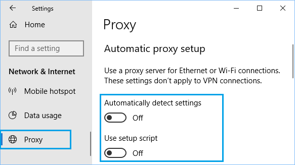 Disable Proxy Servers and Automatically Detect in Windows 10