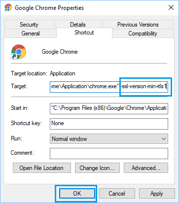 Enable TLS1 Minimum in Chrome Browoser