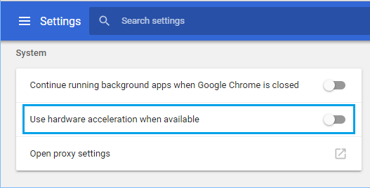 Disable Hardware Acceleration in Chrome Browser