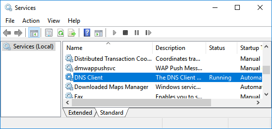 DNS Client on Services Screen in Windows 10