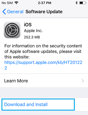 Download and Install Software Update on iPhone