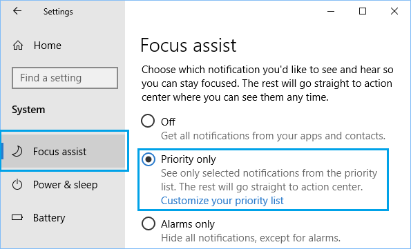 Enable Focus Assist Priority Only Option in Windows 10