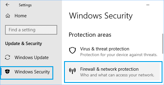 Firewall & Network Protection option on Windows Security Screen