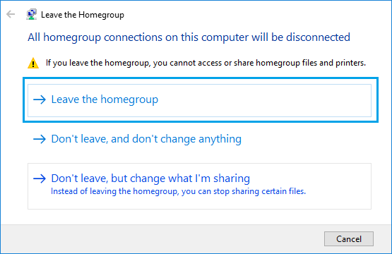 Leave HomeGroup Option in Windows 10