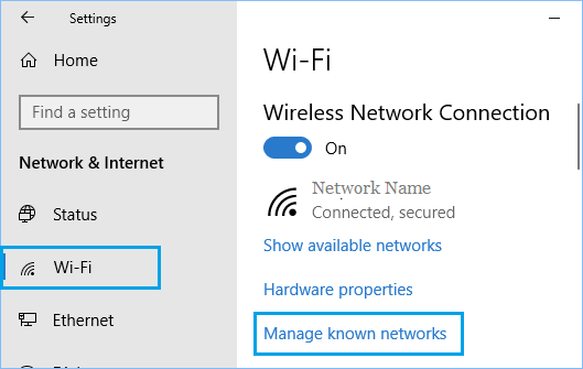 Manage Known Networks Option in Windows 10
