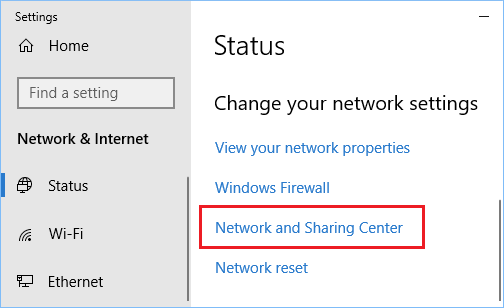 Network and Sharing Center Option in Windows 10