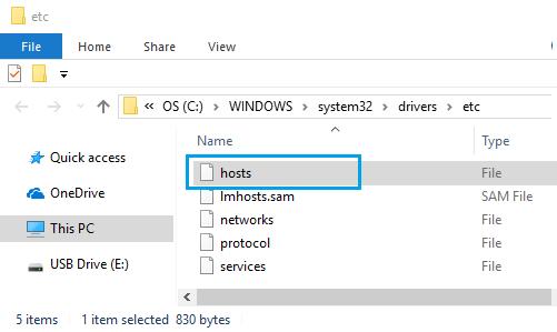 Open Hosts File in Windows 10