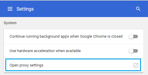 Open Proxy Settings Option in Chrome Browser