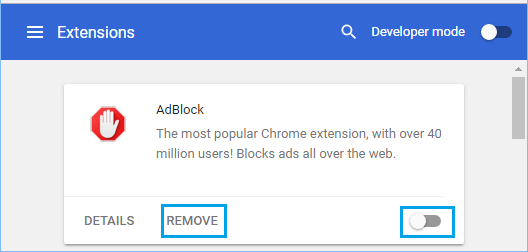 Remove or Disable Chrome Extension