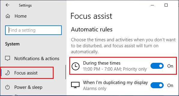 Set Focus Assist Period Option in Windows 10