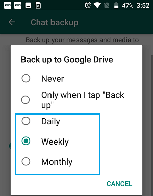Select WhatsApp Chat Backup Period On Android Phone