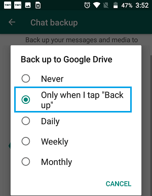 WhatsApp Chat Backup Options on Android Phone