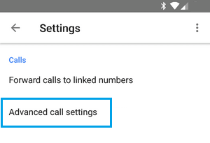 Advanced Call Settings Option in Google Voice