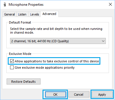 Allow Applications to Control Microphone in Windows 10