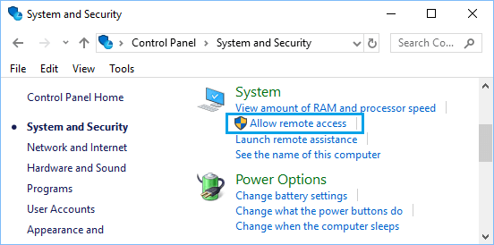 Allow Remote Access Option in Windows Control Panel