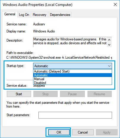 Set Startup Type to Automatic For Windows Audio Service
