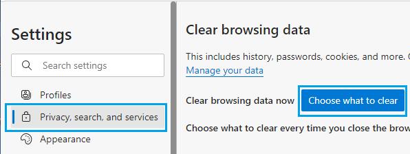 Clear Browsing Data Option in Microsoft Edge
