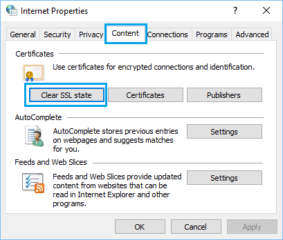 Clear SSL Certificate Cache Option in Windows 10