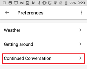 Continued Conversation Tab in Google Home App