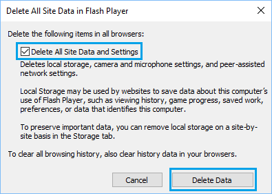 Delete All Flash Player Site Data and Settings in Windows 10