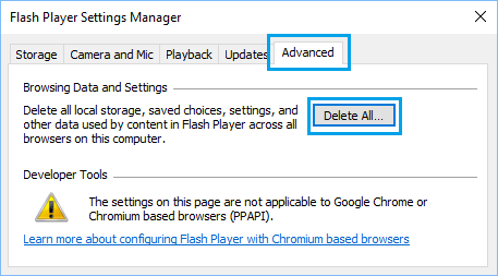 Delete Flash Player Data and Settings Option in Windows 10