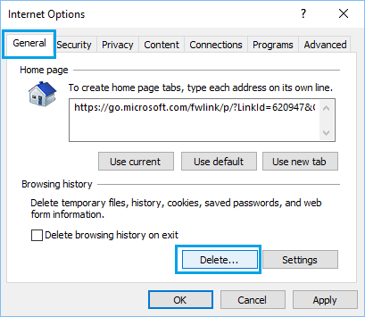 Delete Internet Explorer Browsing History