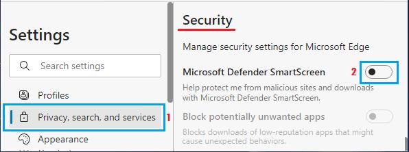 Disable Microsoft Defender SmartScreen in Edge Browser
