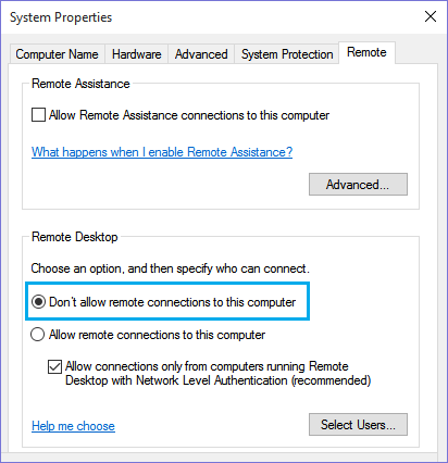 Disable Remote Desktop Connections